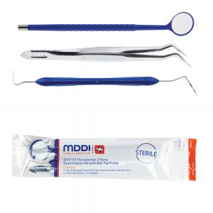 single use Periodontal 3 Piece Examination Kit with Ball Tip Probe used in diagnostic dental procedures