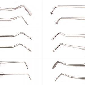 single use Flat Plastic, Ball Burnisher, Small Spoon Excavator (1.2mm), Medium Spoon Excavator (1.8mm), PFI49 Burnisher, ½ Hollenback six piece dental restorative instrument kit