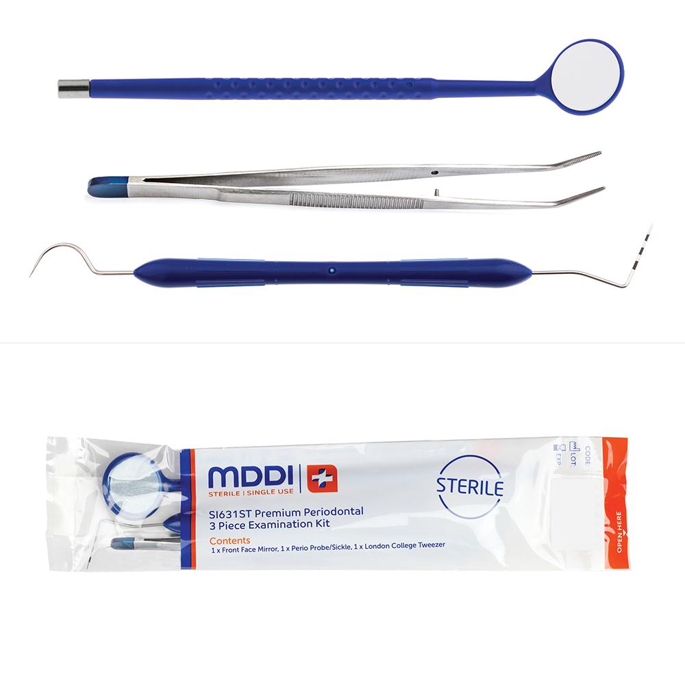 premium mirror, probe and london college tweezer 3 piece dental examination instrument kit