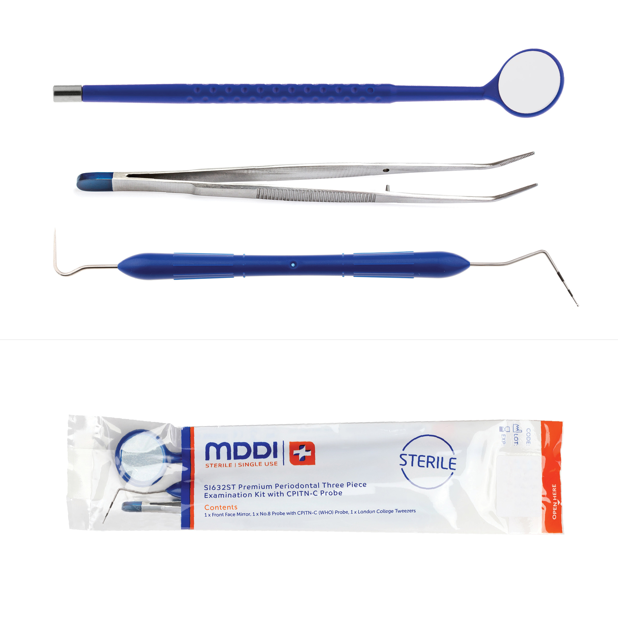 Premium Periodontal Three Piece Examination Kit with CPITN-C Probe